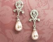 1920s Bridal Pearl Earrings, Flapper Earrings, Rhinestone Chandelier Earrings, Crystal Dangle Earrings, Wedding , Ivory, White - CLARA