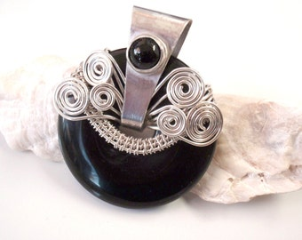 Large Black Onyx Healing Gemstone Pendant with Silver Wire Wrap