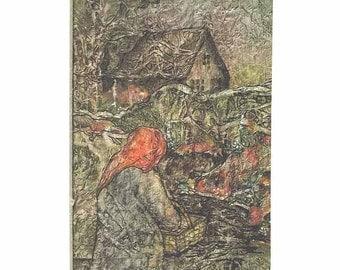 Original Painting Zen Inspired Watercolor Tissue COTTAGE Garden Gate Lynne French
