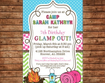 Girl Sleepover Camping Glamping Smores Tent Outdoors Glamp Out Campout Party Birthday Invitation - DIGITAL FILE