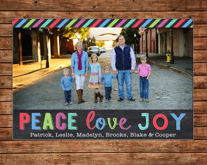 Christmas Holiday Photo Card Whimsical Stripe Peace Love Joy - Can Personalize - Printable File or Printed Cards