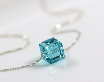 Swarovski Cube Necklace, Sterling Silver Necklace, Bridesmaid Necklace, Bridesmaid Gift, PTeal Necklace, Teal Wedding, Layering Necklace