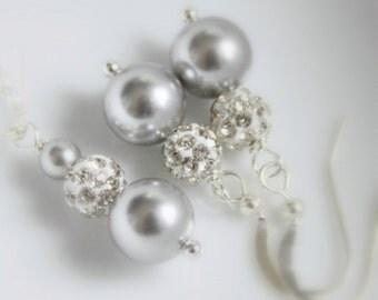 Light Grey Jewelry, Light Grey Necklace, Wedding Jewelry Bridesmaid Gift,  Swarovski Pearl Necklace and Earring Set, Bridesmaid Jewelry Set