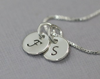 Two initial necklace sterling silver initial double initial double initial necklace double initial charm on sterling silver chain gift for mom mozeypictures Images