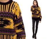 Tribal Sweater 80s Black Yellow Geometric Boho Striped Aztec Grunge Purple Grey Slouchy 1980s Bohemian Vintage Slouchy Abstract Small Medium