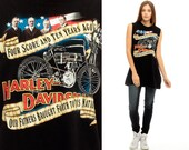 Harley Davidson Shirt Motorcycle Tank Top American Flag 80s Biker Patriotic ABE LINCOLN Vintage Black Long Low Armhole Small Medium xs