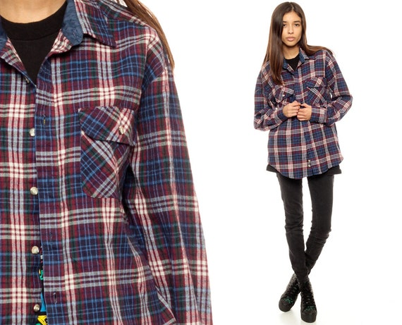 Flannel shirt oversized plaid 90s navy blue button up grunge for Navy blue and red flannel shirt