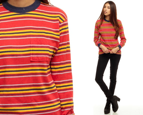 Striped Shirt Long Sleeve Shirt Ringer Tee Red Stripe Gold