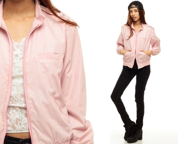 Baby Pink Jacket Members Only Style 80s Coat Windbreaker
