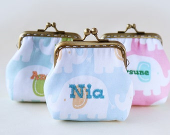 Personalized | Monogram | Personalize with your name or initials little coin Purse Pastel Elephants