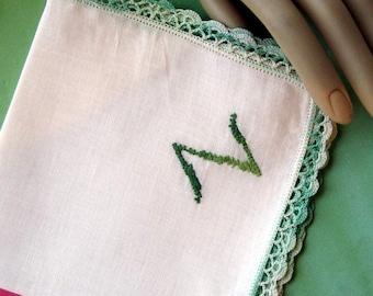 "Vintage  White Cotton Hanky  Embroidered ""Z""  Monogram Green Crocheted  Edges"