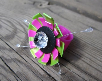 Upcycled BRIGHT PINK and green flower ring