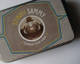 Card game for kids - STINKY SAMMY - with unique illustrations and a metal box