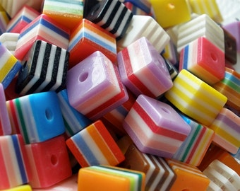Striped Resin Cube Beads 8mm (25)