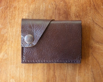 "Leather Wallet ""The Loaded Dave"" in Chocolate Espresso w/ cash pocket addition - Ready to Ship"