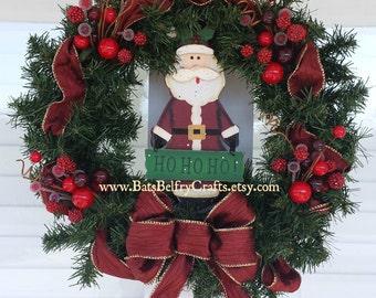 Santa Wreath, Christmas Wreath, Holliday Wreath Decor