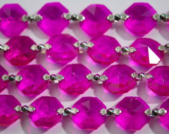 1 Yard (3 ft.) Chandelier Crystals Bead Garland Chain - Fuchsia-  (S-19)