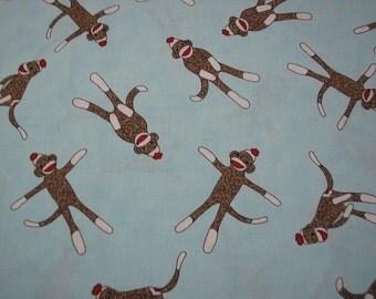 Sale~AQUA  Tossed Sock Monkey Fabric   1/2 yard piece