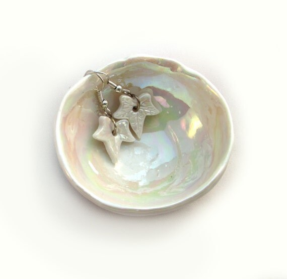 Pottery Wedding Anniversary Gifts: Porcelain Small Bowl Pearl Wedding Anniversary Gift