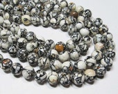 "7.5"" STRAND - Mosaic Magnesite Beads - 10mm Rounds - White, Brown, Black (7.5"" strand - 18 beads) - str996"