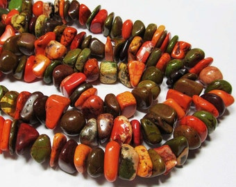 "7.5"" Gemstone STRAND - Howlite Beads - Organic Nuggets - Orange, Yellow, Green, Brown (7.5"" strand ~28 beads) - str981"