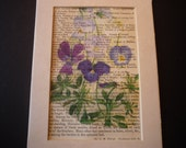 Dictionary Art - Pansy Print on Vintage Paper 5 by 7 - framable - shades of purple and white - made to order