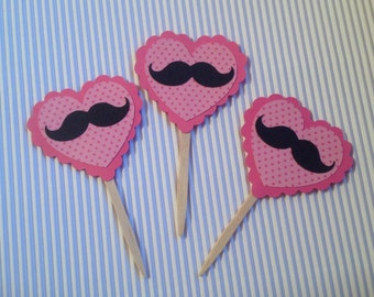 Heart and Mustache Cupcake Toppers - Set of 12