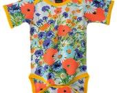 Vintage Onesie / Handmade / Bodysuit - Pretty Poppy Onesie