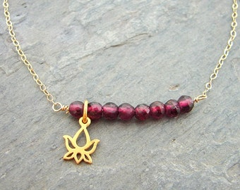 Bar Garnet Necklace, Set the Bar for New Beginnings- Love-Blooming Lotus  Love Inner Beauty. Yoga Jewelry. January Birthstone. Best Gift.