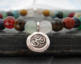 OM Chakra Mala Bead Bracelet -Gemstone Bracelet, Yoga Inspired Jewelry, Yoga Jewelry, Yoga Gift For Her, Yoga Bracelet, Ohm Aum OM bracelet
