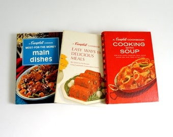 Vintage 1970s Campbell Spiral Bound Cookbook Set of 3 / Quick Easy Recipes Using Campbell's Convenience Foods