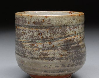 Handmade Stoneware Yunomi Tea Cup Glazed with Shino and Portland Cement