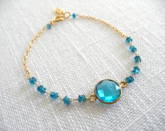 Blue Quartz and apatite bracelet - bright blue bracelet - gold bracelet - K A T E 002