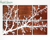 Pretty Branches in Bloom Original Artwork on Wood Grain Panels - Dark Stained