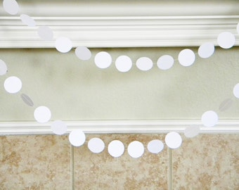 White Wedding Shower Paper Garland White Birthday Party Decor, Baptism Party Decor, Baby Shower Decor Neutral, White Photo Backdrop