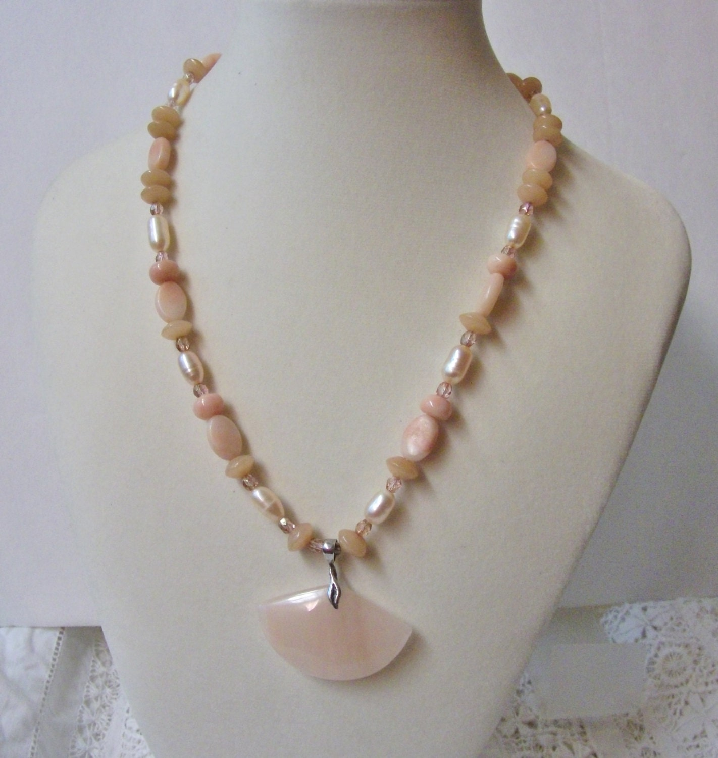 Peach Aventurine Freshwater Pearl Necklace And Sterling