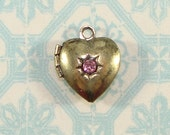 4 Heart Lockets Bronze Pink Crystal (17629) Hinged Antiqued Gold Charm Pendant Jewelry Supplies Token of Love Vintage Style Bridesmaid Gift