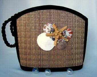 Beach Purse, Seashell Purse, Nautical Purse, Shell Purse - Large Shoulder Bag w Shell Design