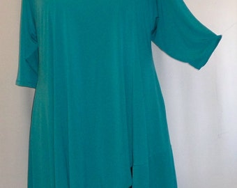 Coco and Juan, Lagenlook, Plus Size Top, Asymmetric Plus Size Tunic Top, Dk Turquoise Knit Size 1 (fits 1X,2X)  Bust 50 inches