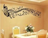 Butterfly & Music Notes Wall Decals Stickers Bedroom Office Living Room Decorations (Black)