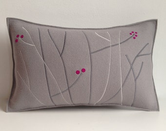 Felt Pillow in Gray and Fuschia, Grey and Pink Felt Pillow, 100 Percent Wool Felt Pillow, Graphic Felt Pillow