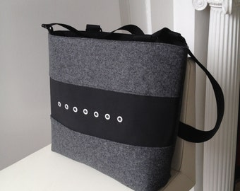 Large Tote in Gray Felt and Black Vinyl, Felt Tote, Vinyl Tote in Black and Gray