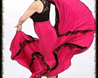 FLORA flamenco skirt , Flamencita design , Professional spanish skirt. Tribal fusion skirt.