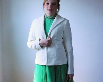 White wool jacket / VTG 1980s soft wool blazer