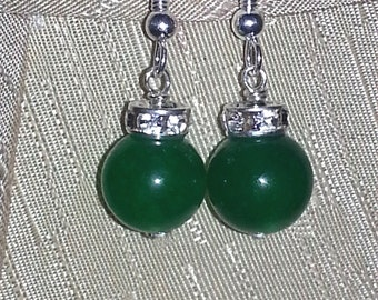 Christmas earrings, green glass pearls with silver crystal