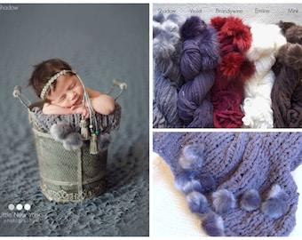 Blanket Newborn Photo Prop Fur Layer Texture Velvet Newborn Girl Knit Prop Mat Baby Boy Chenille SABLE Fluffy PomPoms Going hom Wrap Organic