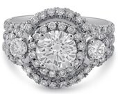 7mm Charles & Colvard created moissanite and diamonds antique style engagement ring R169