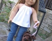 18 Inch Doll Clothes Trendy Handmade Skinny Jeans and White Halter Top