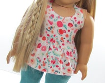 Handmade Doll Clothes fits 18 inch Dolls American Girl ® Trendy Peplum Halter Top and Capris Jeans