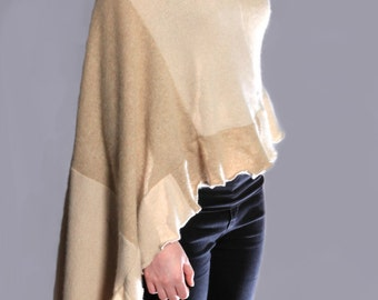 Cashmere Shawl, 100% Cashmere, camel, cream, tan colors, wrap, scarf,